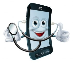 22019734 - illustration of a cartoon phone character holding a stethoscope