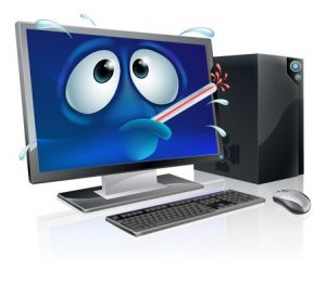 30028392 - broken cartoon desktop computer, cartoon of a poorly computer with a bursting thermometer in its mouth. could be a broken computer or one that has a virus or other malware